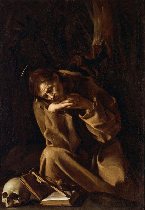 """Michelangelo Merisi detto Il Caravaggio San Francesco in meditazione 1604-1605 OIio su tela Cremona, Museo Civico """"Ala Ponzone"""""""