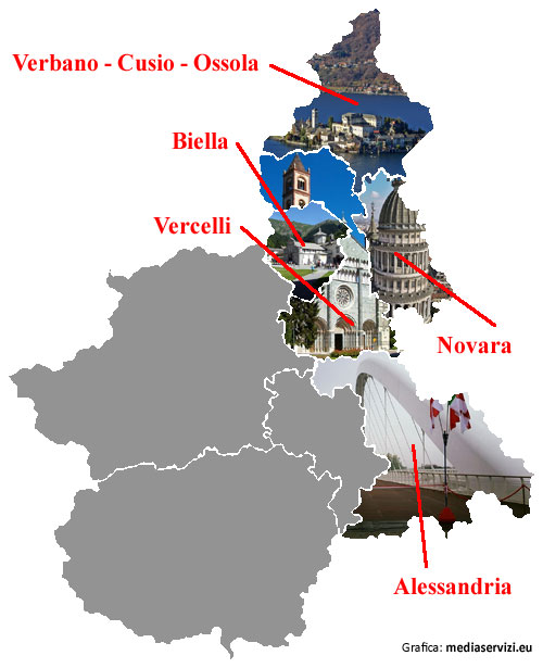 Le province del Piemonte Orientale