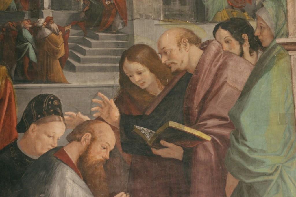Gaudenzio Ferrari. Maddalena, Marta e Lazzaro accolgono i principi di Marsiglia - particolare delle Storie della Maddalena