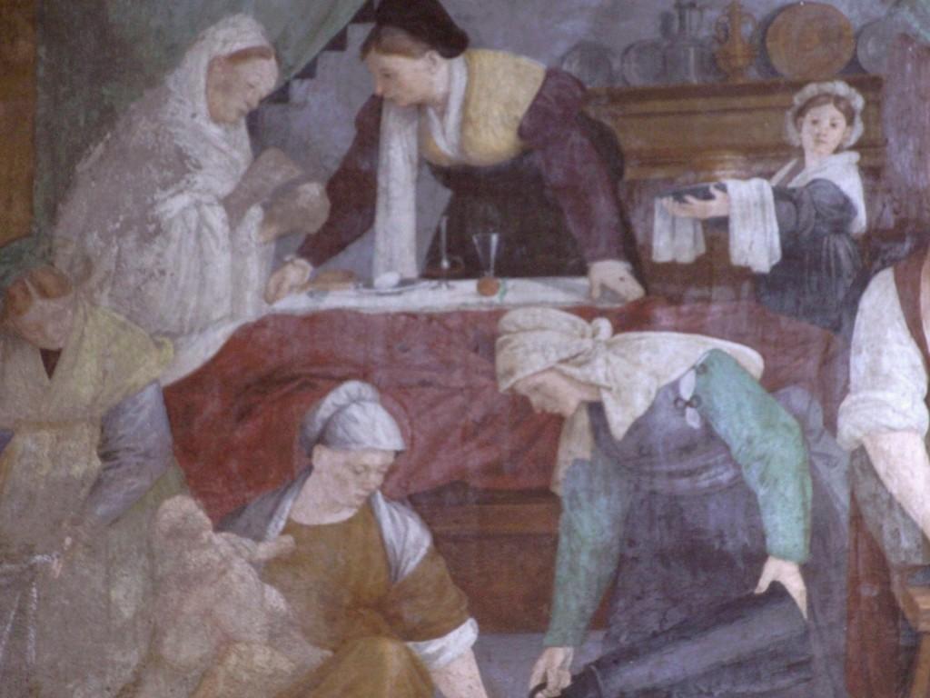 Particolare della nascita della Vergine